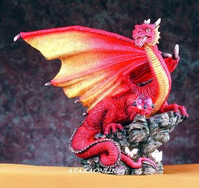 RED DRAGON HOLDING ORB-FIGURINE-STATUE-LARGE (4937)