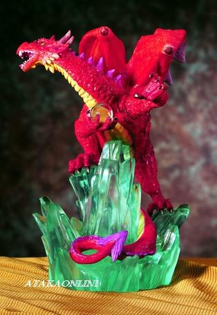 RED DRAGON ON CRYSTAL ROCK-FIGURINE-STATUE (5434)