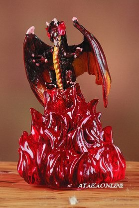 FIERY DRAGON ON FIRE-FIGURINE-STATUE (5880)