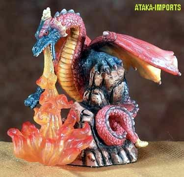 DRAGON BREATHING FIRE-FIGURINE-STATUE (5547)