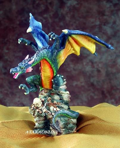 BLUE DRAGON HOLDING ORB-FIGURINE-STATUE (5366)
