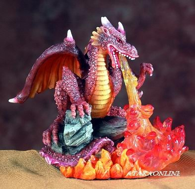 BROWN DRAGON BREATHING FIRE-FIGURINE-STATUE (5546)