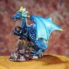 BLUE DRAGON HOLDING ORB-FIGURINE-STATUE (5198s)