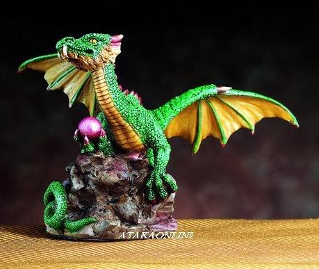 SMALL DRAGON (GREEN)-FIGURINE-STATUE (4750)