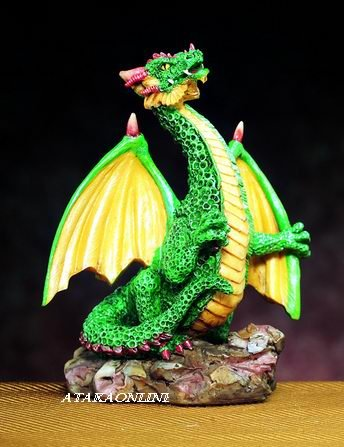 SMALL DRAGON (GREEN)-FIGURINE-STATUE (4746)
