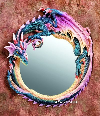 ROUND DRAGON MIRROR-COLORFUL-FIGURINE-STATUE (5910)