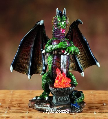 GREEN DRAGON PROTECTING SWORD-FIGURINE-STATUE (5982)