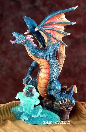 BLUE DRAGON W ORB-FIGURINE-STATUE (5552)