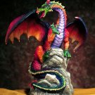 RAINBOW DRAGON ON ROCK-FIGURINE-STATUE (5432s)