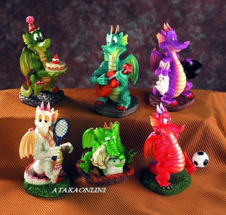 PLYAFUL DRAGON-CUTE-CARTOON-FIGURINE-STATUE-SET OF 6 (5036)