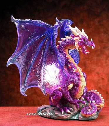 DRAGON LAMP WITH TRANSLUCENT WINGS-FIGURINE-STATUE (5818)