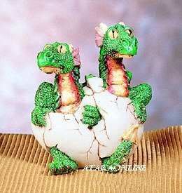 TWO HEADED GREEN DRAGON HATCHING-FIGURINE-STATUE (4679)