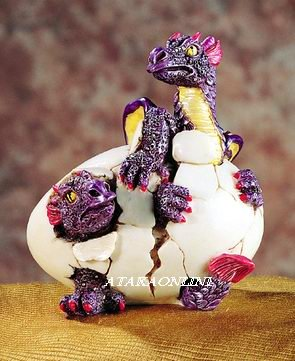 DOULBE DRAGON HATCHING-FIGURINE-STATUE (5195)