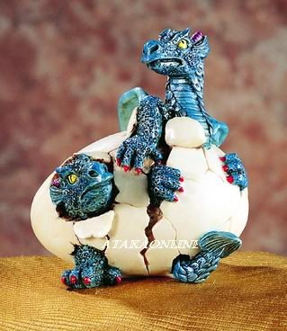 DOULBE DRAGON HATCHING-FIGURINE-STATUE (5196)