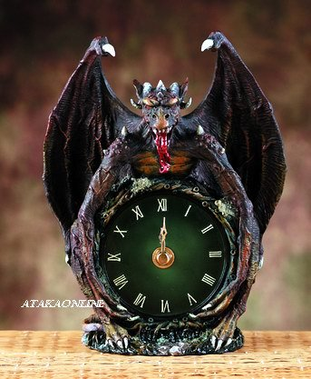 EVIL DRAGON CLOCK-FIGURINE-STATUE (5873)
