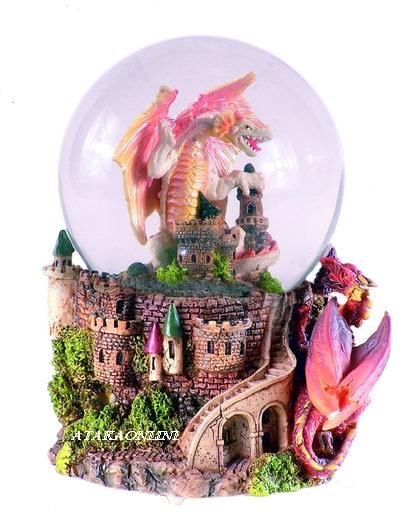 WHITE DRAGON-WATER GLOBE-FIGURINE-STATUE (5048)