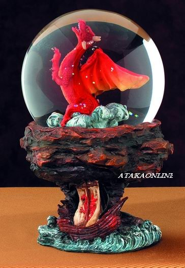 RED DRAGON-WATER GLOBE-FIGURINE-STATUE (5049s)
