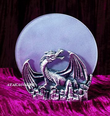 DRAGON PEWTER CANDLEHOLDER-FIGURINE-STATUE (5462)
