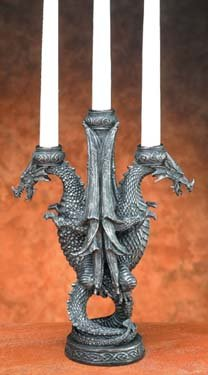 DUAL DRAGON CANDLEHOLDER-FIGURINE-STATUE (5789)
