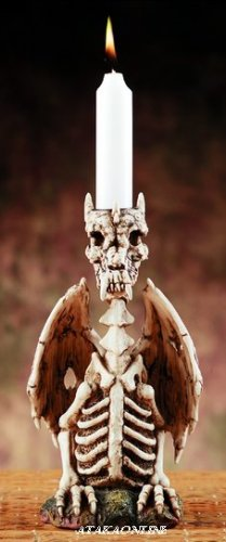 SKELETON DRAGON CANDLEHOLDER-FIGURINE-STATUE (5877)