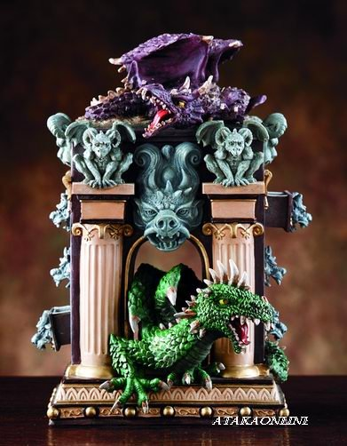 DRAGON AND GARGOYLE BOX W SIX DRAWERS-STORAGE (4042)
