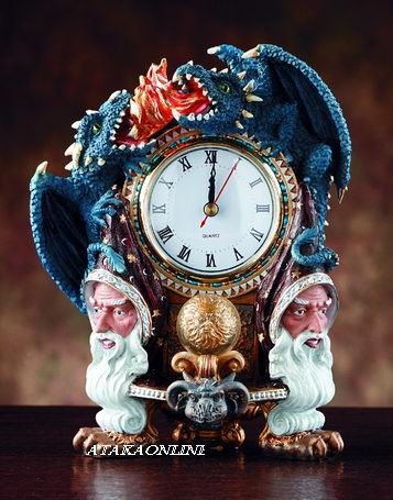 WIZARD AND DRAGON CLOCK W DRWER-FLAMING (4047)