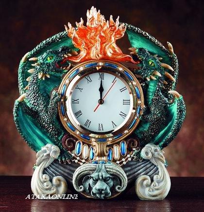 DRAGON CLOCK W DRWER-FLAMING (4046)