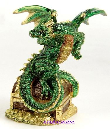 DRAGON ON TREASURE CHEST-PEWTER-FIGURINE-SHINING (6585)