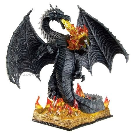 FIERY DRAGON PROTECTING SCROLL FIGURINE-STATUE (6276)