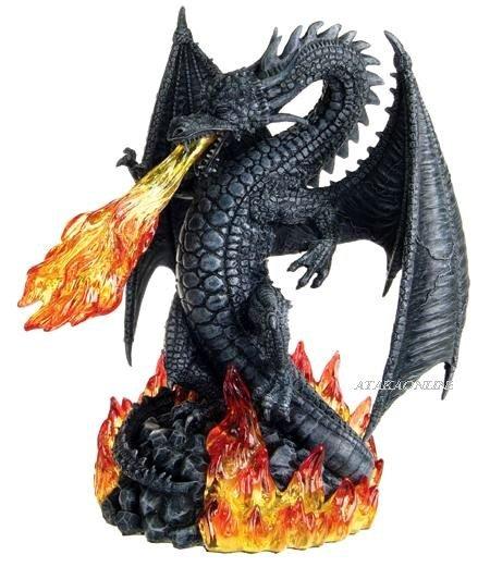 FIERY SINISTER DRAGON FIGURINE-STATUE-FIRING (6278)