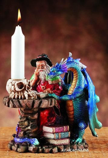 DRAGON AND WIZARD CANDLEHOLDER-FIGURINE-STATUE (5878)