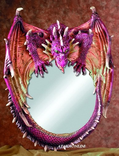 DRAGON ROUND MIRROR-FIERY-FIGURINE-STATUE (5539)