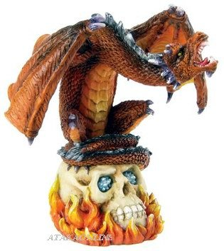 DRAGON PERCHING ON SKULL-FIGURINE-STATUE (6287)