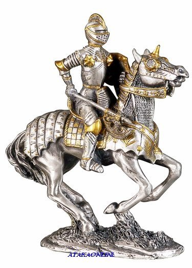 MEDIEVAL KNIGHT ON HORSE-PEWTER-FIGURINE-CHIVALRY (6171)