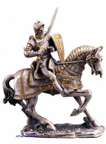 MEDIEVAL KNIGHT ON HORSE-PEWTER-FIGURINE-CHIVALRY (6172)