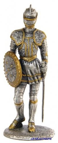 MEDIEVAL KNIGHT W SWORD AND SHILED-PEWTER-FIGURINE-CHIVALRY (6273)