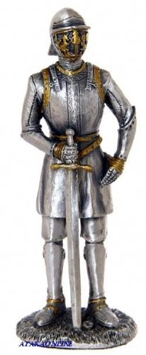 MEDIEVAL WARRIOR W SWORD-PEWTER-FIGURINE (6270)