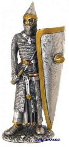 MEDIEVAL WARRIOR W LONG SHIELD-PEWTER-FIGURINE (6269)