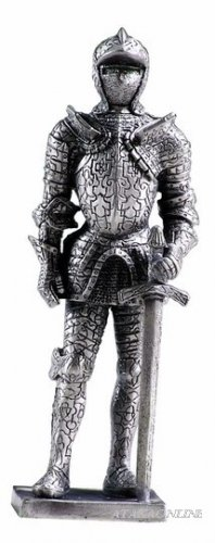 MEDIEVAL WARRIOR SUIT OF ARMOR-PEWTER-FIGURINE (6162)