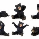 SET OF 6-BLACK BEARS-FIGURINES-DISPLAY-FUN (6370)