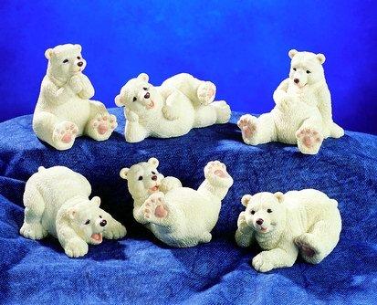 SET OF 6-POLAR BEARS-FIGURINES-DISPLAY-FUN (5225)