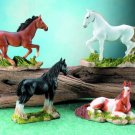 SET OF 4-HORSES-FIGURINES-DISPLAY-FUN (5682)