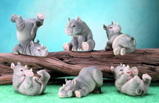 SET OF 6-PLAYFUL RHINOS-FIGURINES-DISPLAY-FUN (5678)