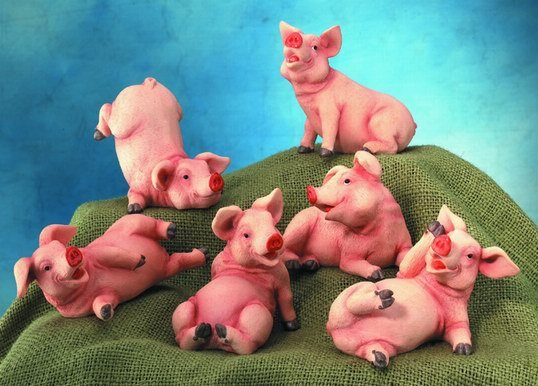 SET OF 6-PIGS-PIGLETS-FIGURINES-DISPLAY-FUN (5053)