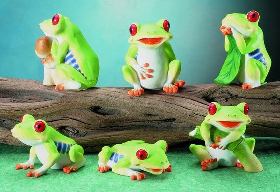 SET OF 6-COLORFUL TREE FROGS-FIGURINES-DISPLAY-FUN (5679)