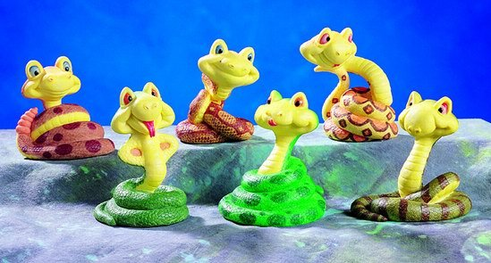 SET OF 6-CARTOON SNAKES-FIGURINES-DISPLAY-FUN (5210)