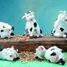 SET OF 6-HAPPY COWS-FIGURINES-DISPLAY-FUN (5831)