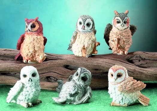 SET OF 6-OWLS-FIGURINES-DISPLAY-FUN (5681)