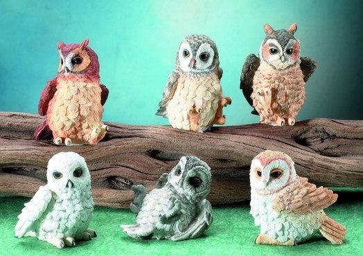 SET OF 6-OWLS-FIGURINES-DISPLAY-FUN (5681)