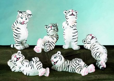 SET OF 6-WHITE TIGER CUBS-FIGURINES-DISPLAY-FUN (5480)